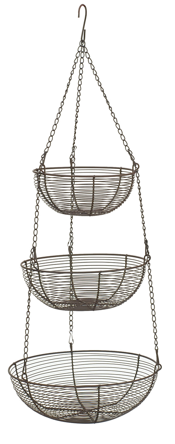 RSVP 3-Tier Hanging Basket, Woven Bronze
