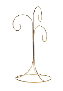 Gold Ornament Stand With 3 Arms, 11""