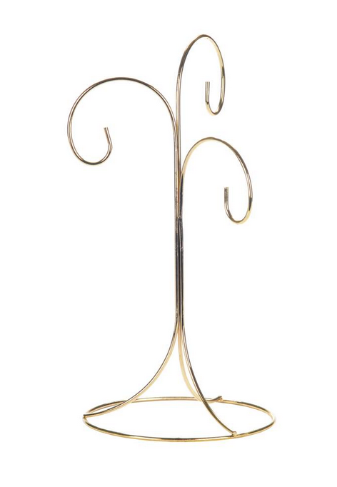Gold Ornament Stand With 3 Arms, 11