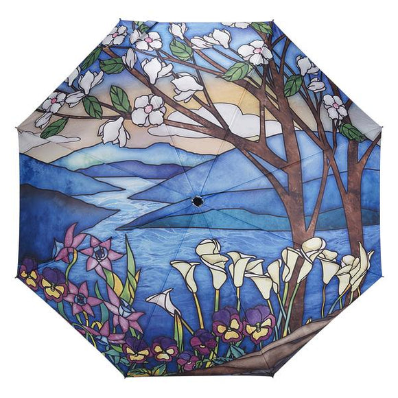 Folding Umbrella - Stained Glass Landscape