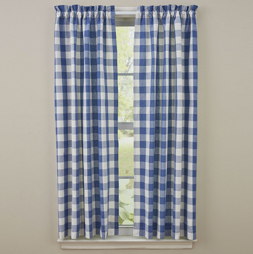Park Designs Wicklow Check Curtains, Pair - China Blue 72Wx63L