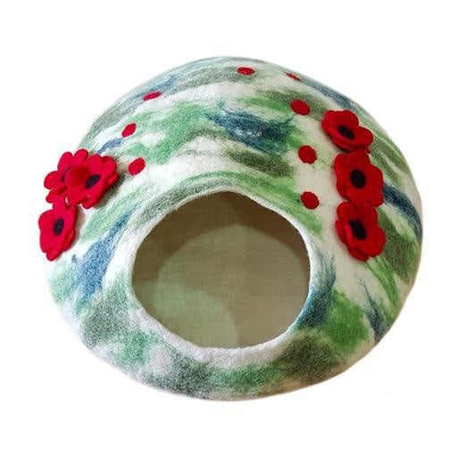 Poppy Field Felt Cat House / Cave / Condo