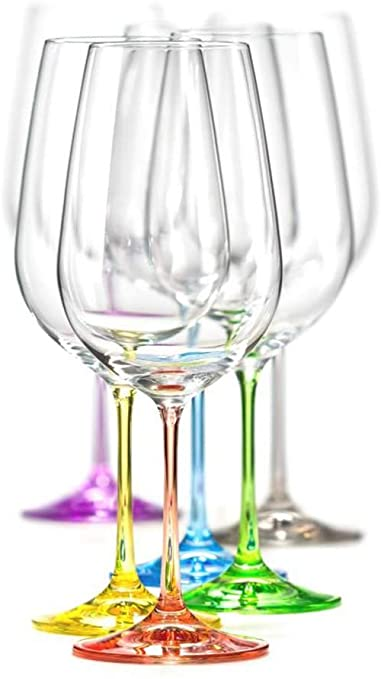 Spectrum Wine Glasses, 350ml Set of 6, Assorted Colours