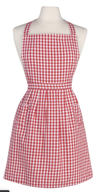 Classic-Style Apron, Red Gingham