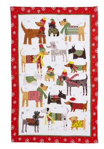 Ulster Weavers UK Cotton Tea Towel, Snow Dogs