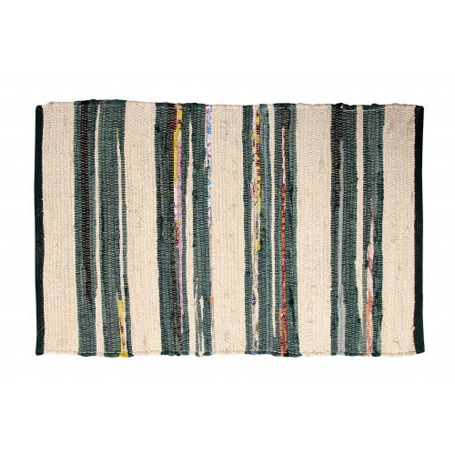 Chindi Floor Mat, Ivory/Green/Mixed Stripe 24x36
