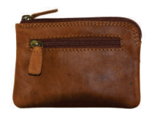 Rugged Earth Leather Card-Size, ID/Coin Slim Zip Wallet, Style 990004
