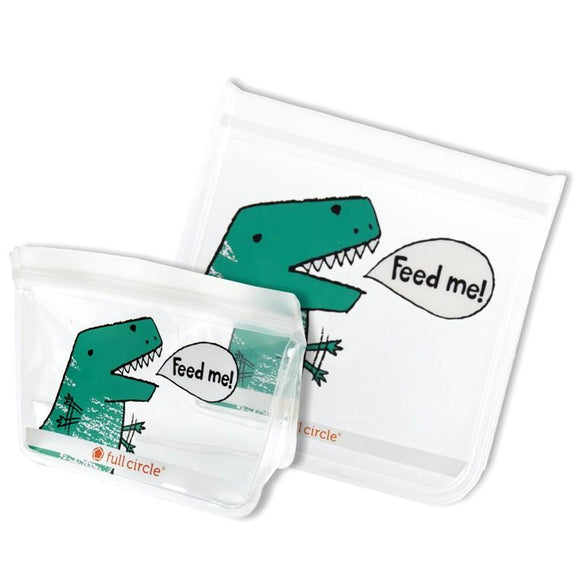ZipTuck Re-Usable Lunch Bags, Set of 2 - Dino
