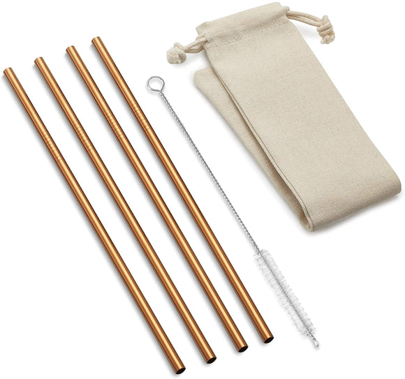 Copper Reusable Drinking Straws Straight, Set of 4 w/Bag 10.5