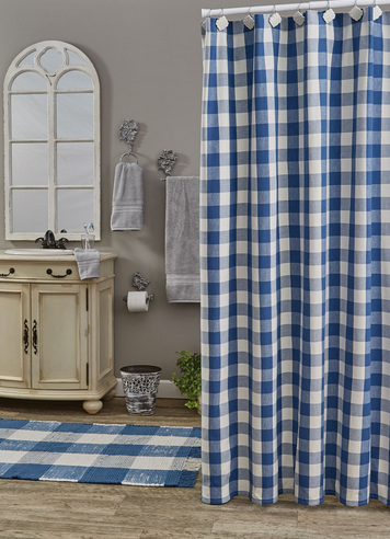 Park Designs Wicklow Check Shower Curtain, China Blue 72x72