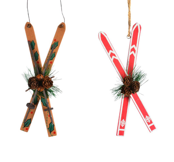 Wooden Skis Ornament, 6