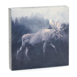 Forest Moose Art Block, 6.25x6.25x1.25""
