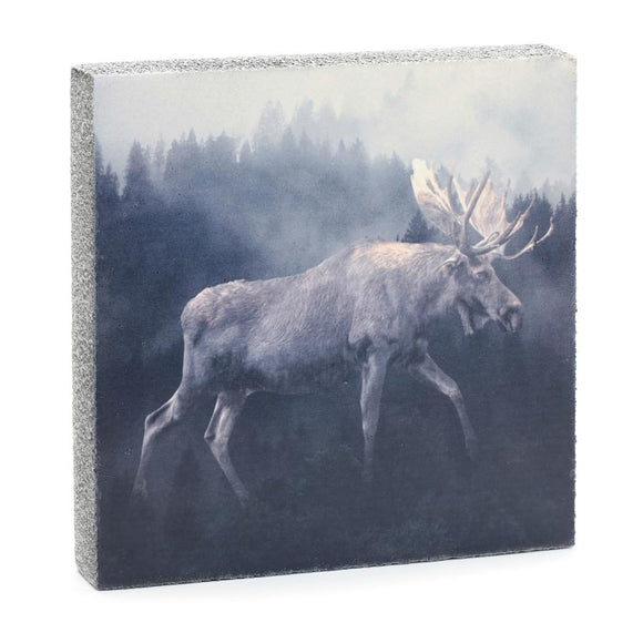 Forest Moose Art Block, 6.25x6.25x1.25