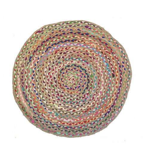 Braided Chindi Rug w/Jute, 36