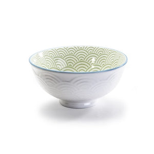 "Wave Footed Bowl, 4.75"", Green"