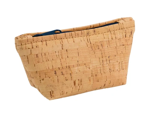 Be Organized Rustic Cork Small Pouch w/ Navy Zip