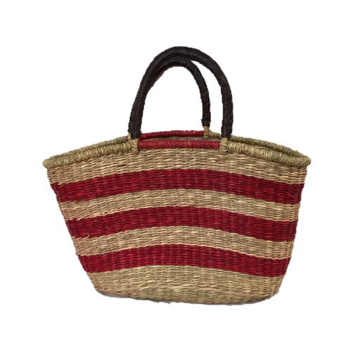 Greener Valley, Seagrass Oval Bag Red Stripe