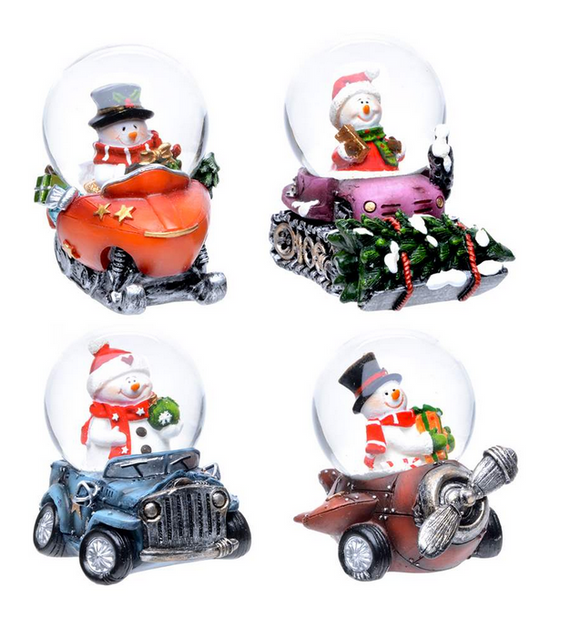 Snowman In Assorted Vehicles Waterglobe