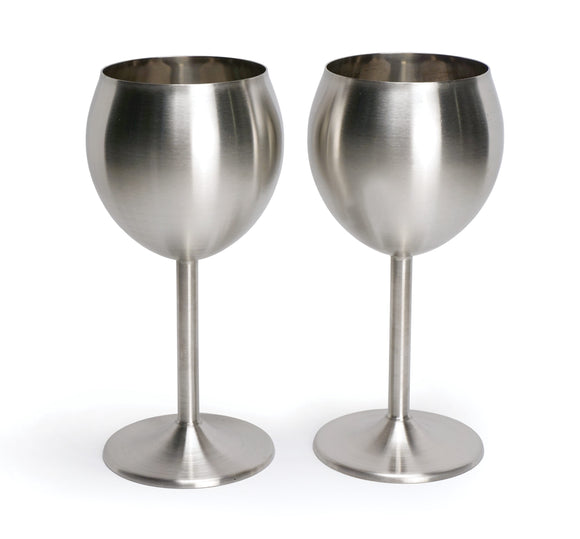 Stainless Steel Wine Glasses, Set of 2