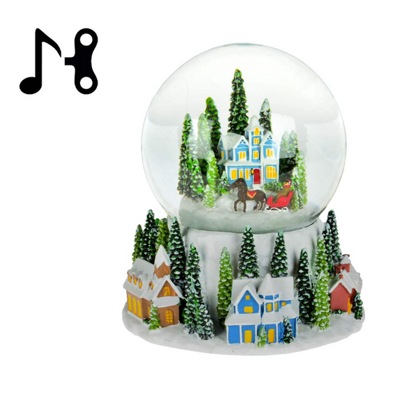 Christmas Village Waterglobe With Music, 12cm