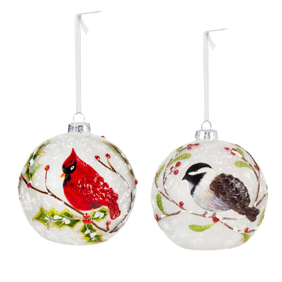 Cardinal or Chickadee LED Glass Ornament