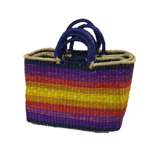 Handwoven Seagrass Shopping Bags, Set of 3, Rainbow
