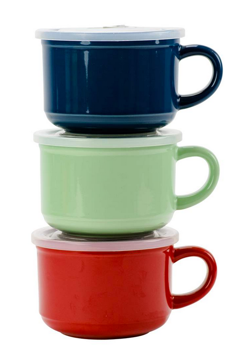Assorted Colours, 21oz Souper Mug W/Lid