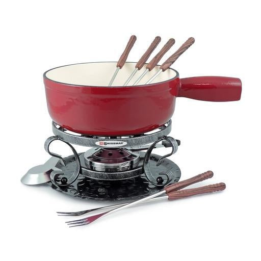 Lugano 9pc Cast Iron Cheese Fondue Set, Cherry Red 2L