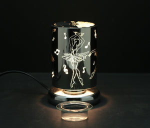 "Carousel Touch Sensor Lamp, Silver Dancer w/ Scented Wax Container 7"" H"