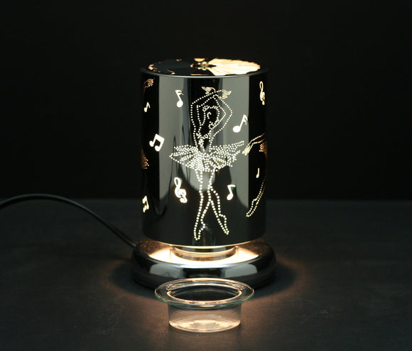 Carousel Touch Sensor Lamp, Silver Dancer w/ Scented Wax Container 7
