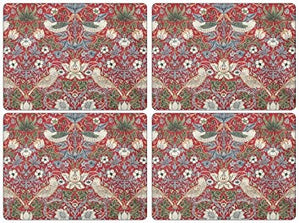 Strawberry Thief Red Cork-Backed Placemats, Set of 4