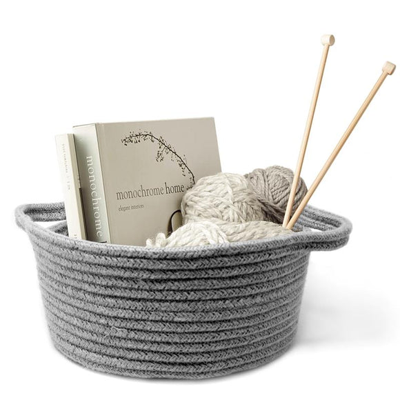 Natural Living Short Woven Storage Basket, Grey 30x14cm H