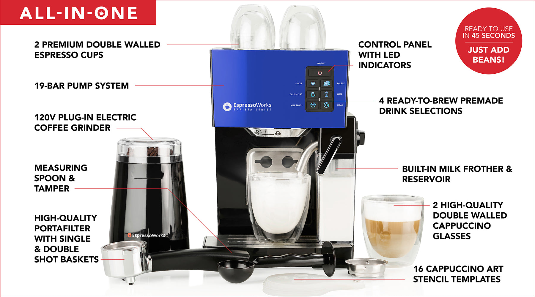 Everything included when you purchase the EspressoWorks 19-bar Espresso & Cappuccino Machine