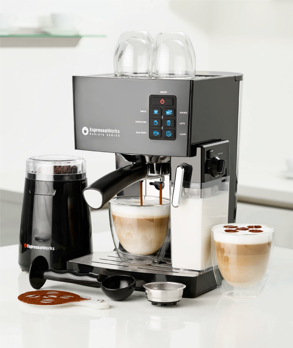 The EspressoWorks 10 Piece All-in-one 19-bar Espresso and Cappuccino Maker Set