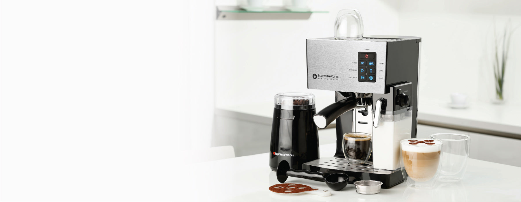 Click on the link to download the user guide for the 10-piece 19-bar EspressoWorks Espresso Machine Stainless Steel