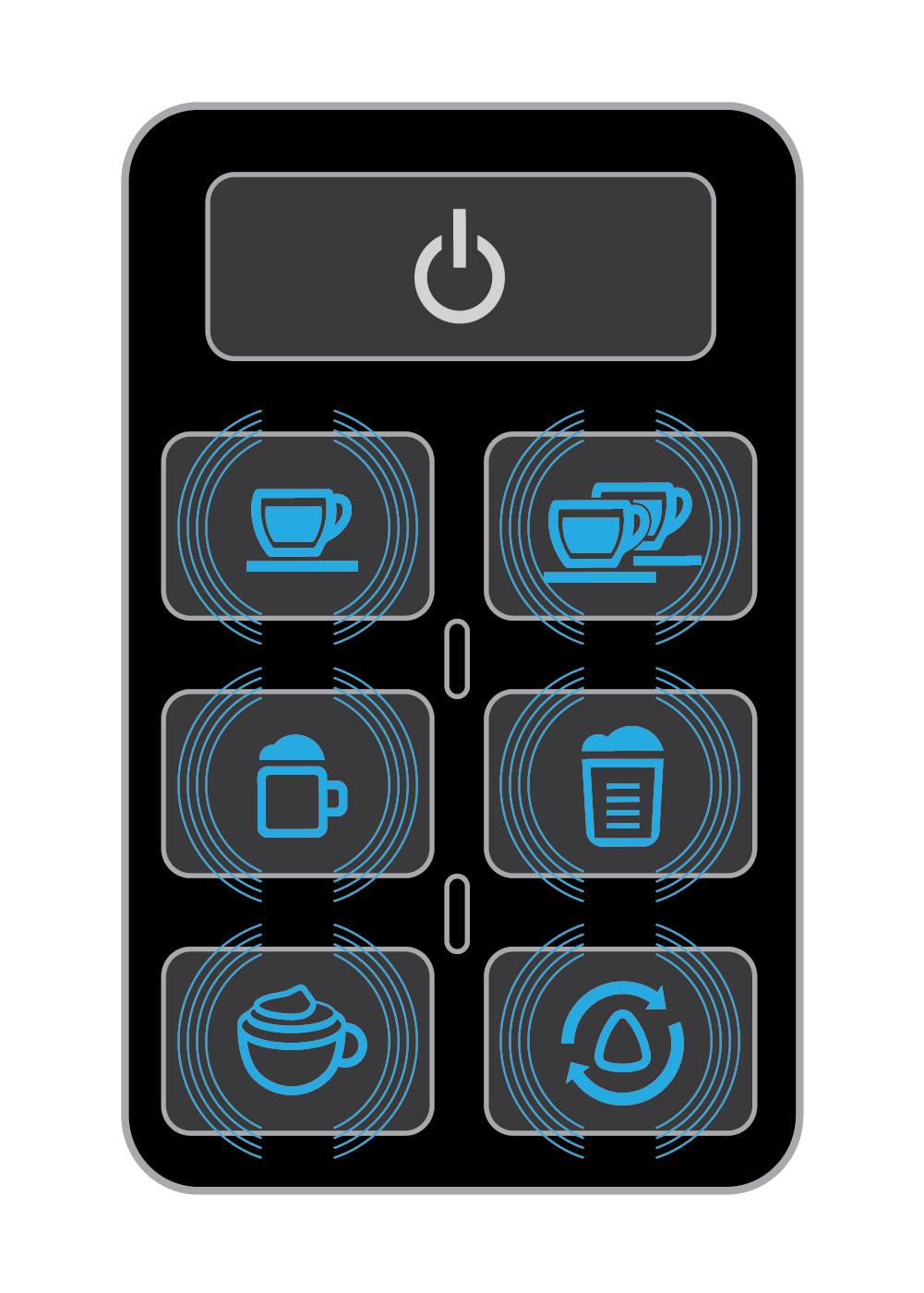 The machine is operating a function when the Blue Function Lights are flashing on the 19-bar EspressoWorks Espresso and Cappuccino Machine