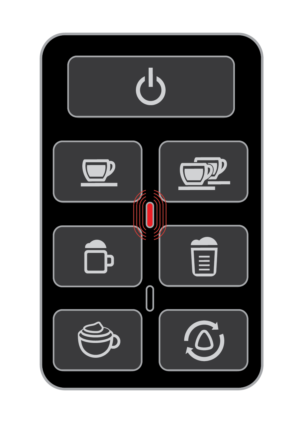 Red Indicator Light on the One-Touch Panel - EspressoWorks 19-bar Espresso & Cappuccino Maker