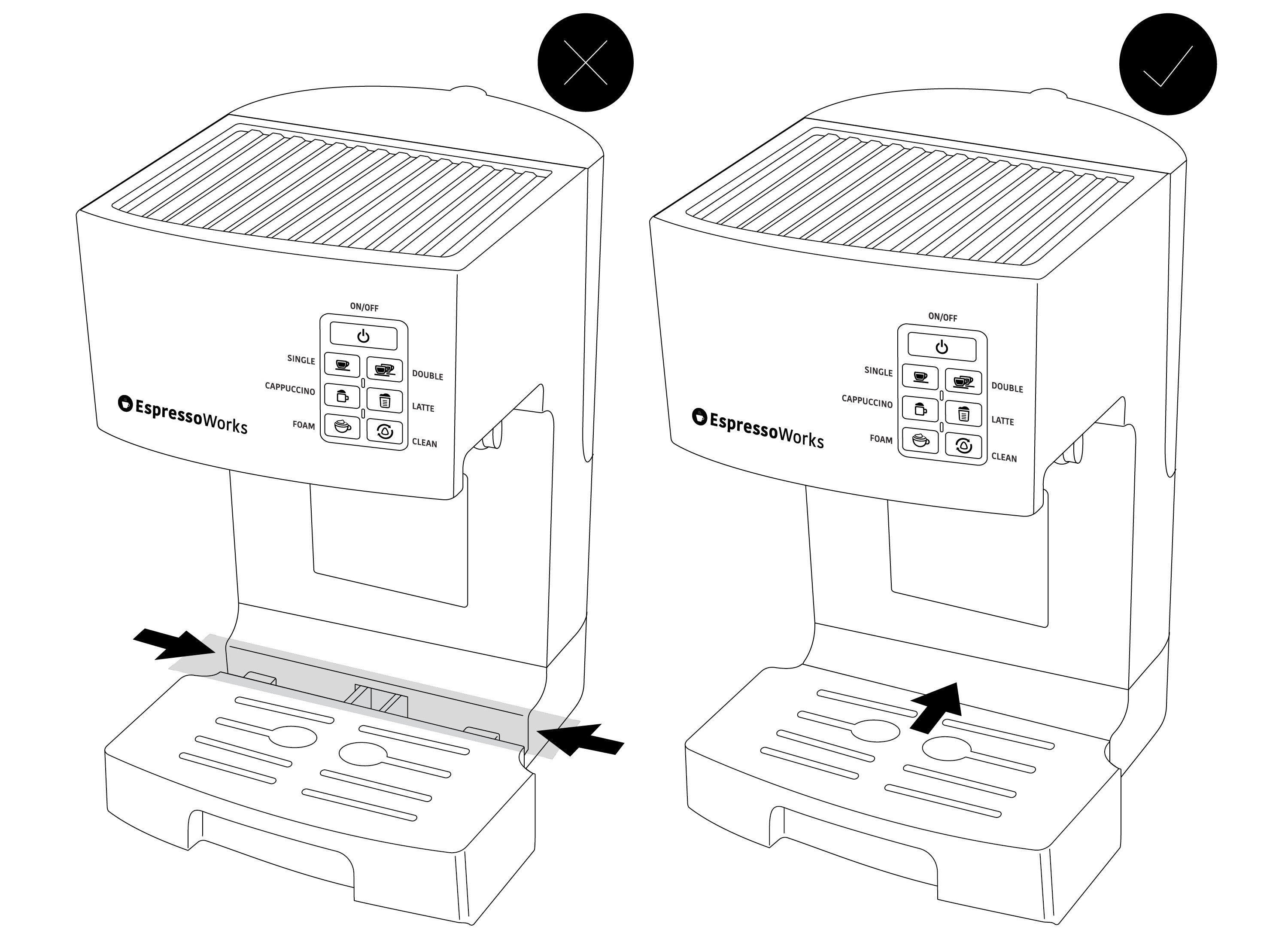 Troubleshooting Water Leakage by fixing the drip tray of the EspressoWorks 19-bar Espresso & Cappuccino Machine