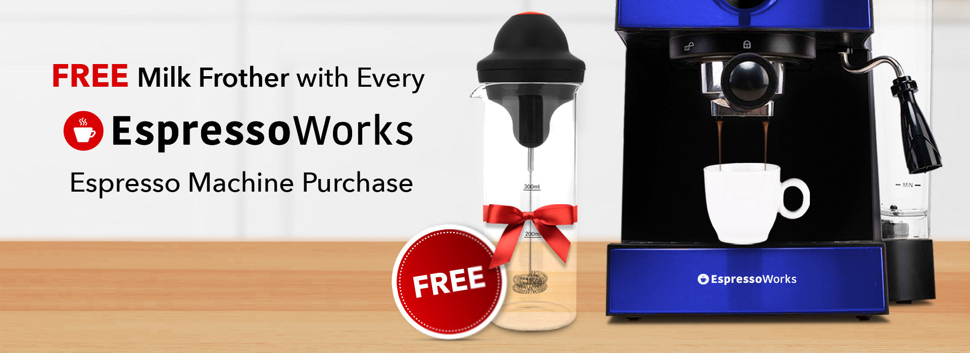 Get a free milk frother with any EspressoWorks Machine purchase for Coffee Milkshake Day!