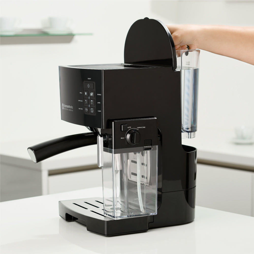 Easily remove, refill, and clean the water tank of the 10-Piece Black Espresso & Cappuccino Maker Set
