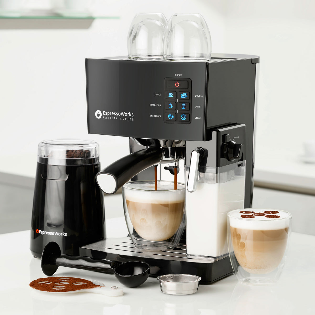 10-Piece Black Espresso & Cappuccino Maker Set