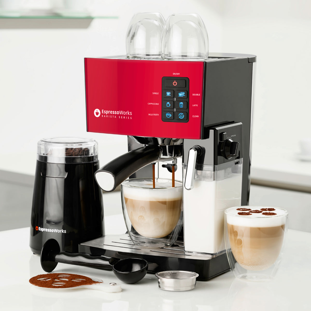 10-Piece Red Espresso & Cappuccino Maker Set