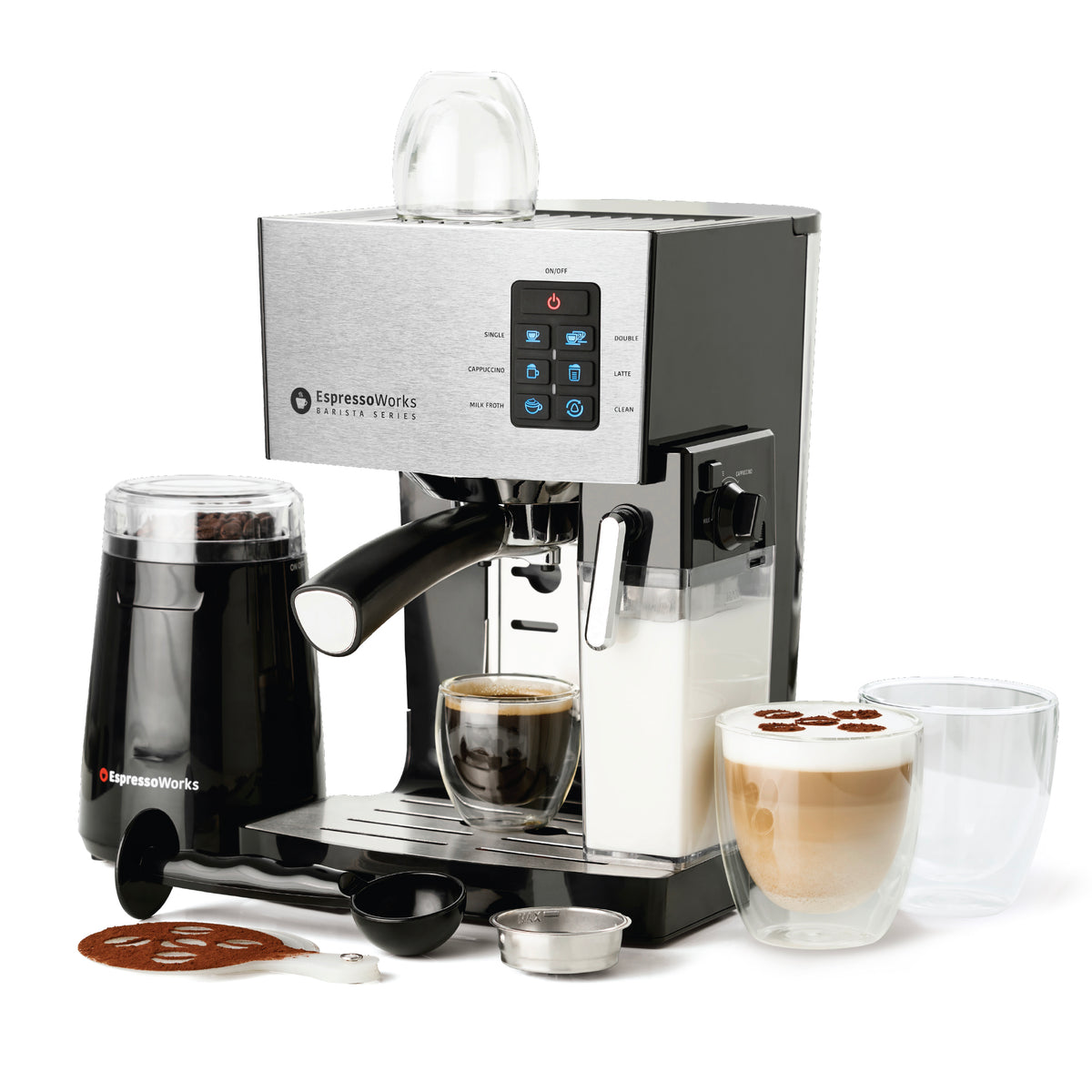 10-Piece 19-bar Espresso & Cappuccino Maker Set (Stainless Steel) making an espresso