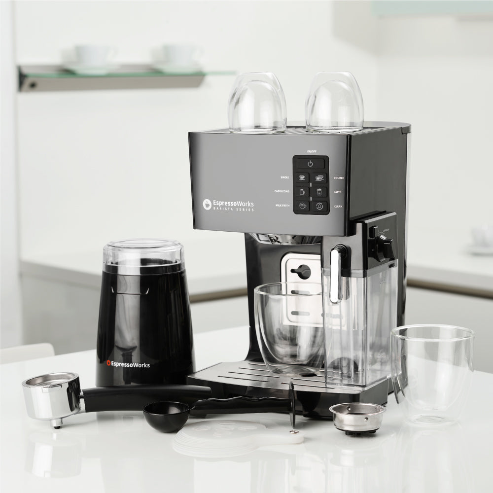 19-bar EspressoWorks Espresso and Cappuccino Maker Set ready to brew for your convenience
