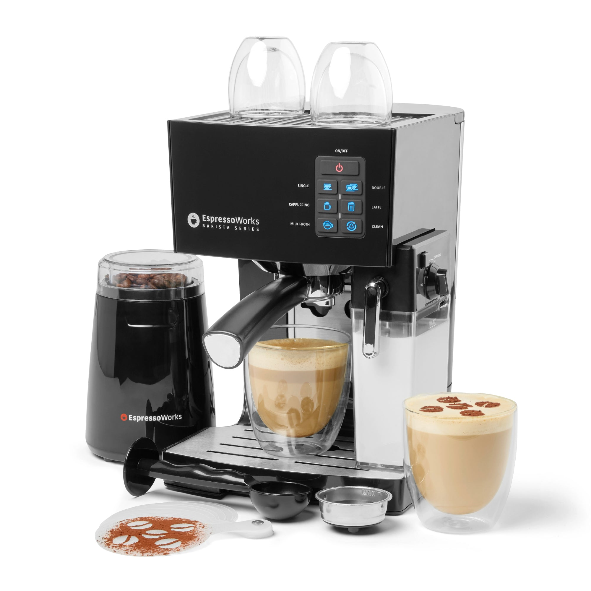 10-Piece Black Espresso & Cappuccino Maker Set making a cappuccino