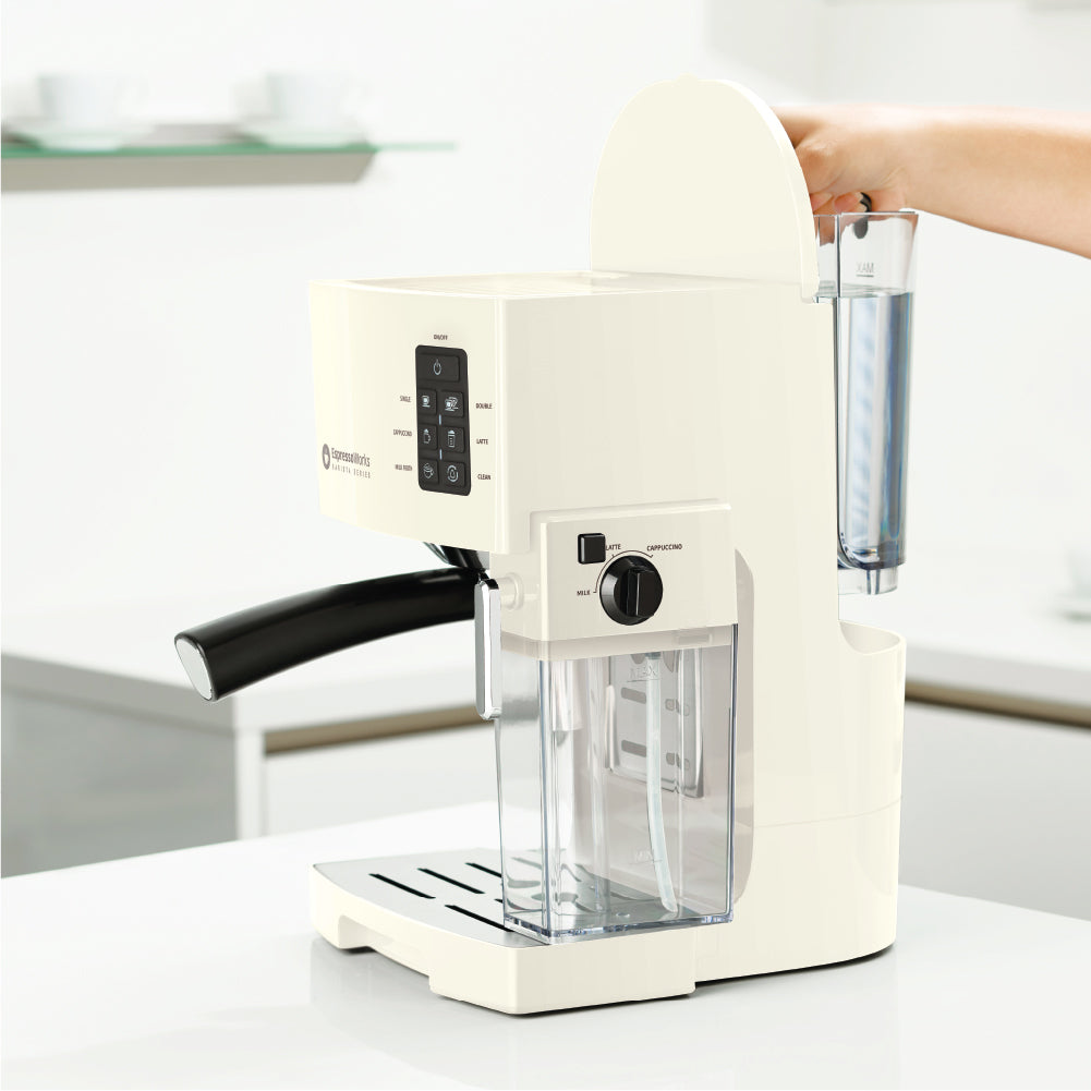 Easily remove, refill, and clean the water tank of the 10-Piece Cream Espresso & Cappuccino Maker Set