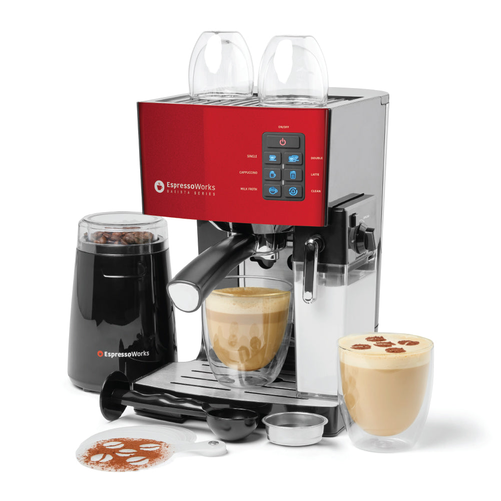 10-Piece Red Espresso & Cappuccino Maker Set making a cappuccino