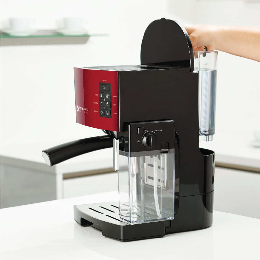 Easily remove, refill, and clean the water tank of the 10-Piece Red Espresso & Cappuccino Maker Set