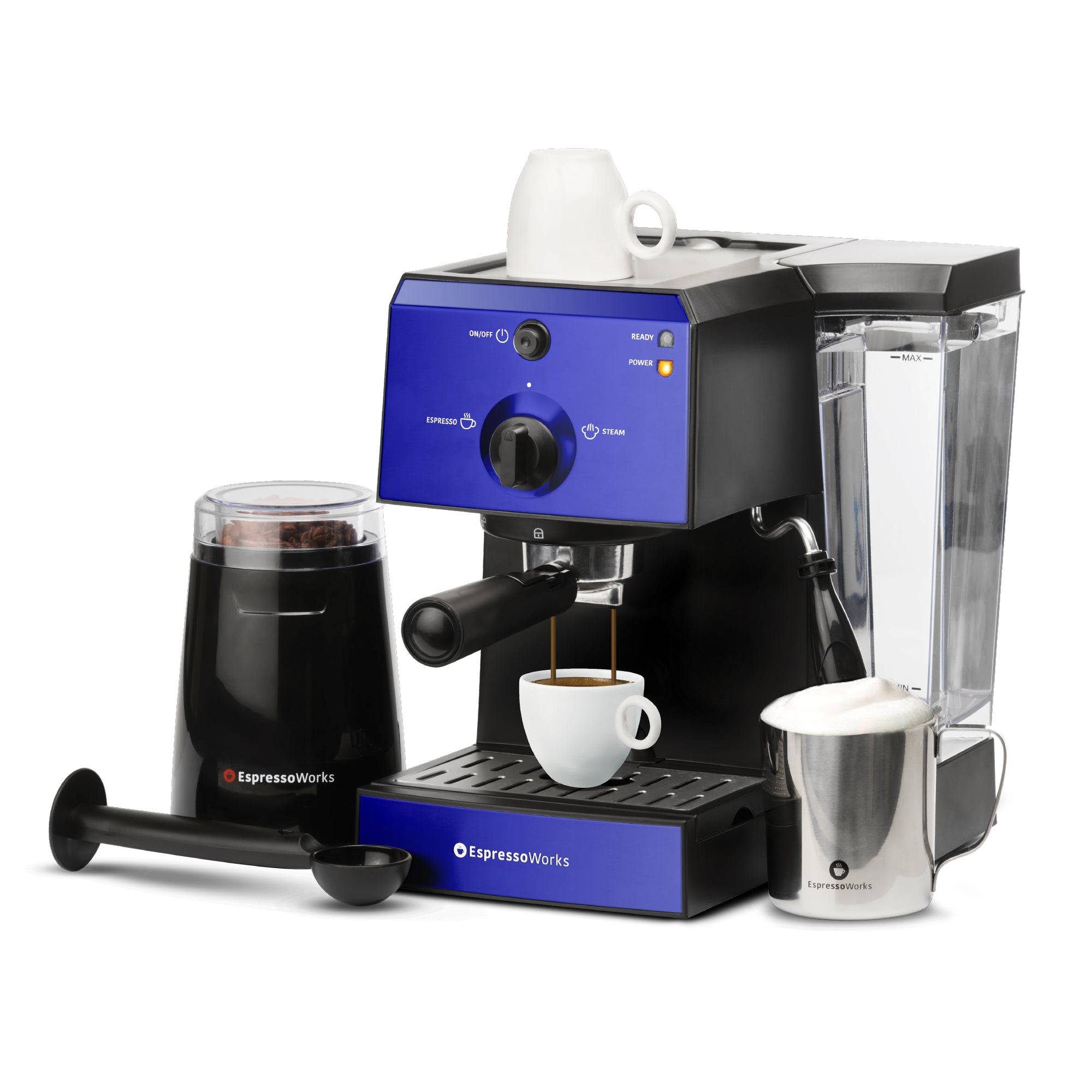 7-piece 15-bar EspressoWorks Espresso Machine Set Blue brewing an espresso