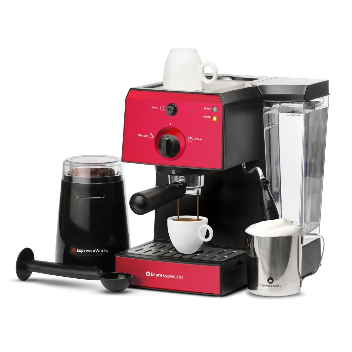 7-piece 15-bar EspressoWorks Espresso Machine Set Red brewing an espresso